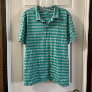 Gap Teal/Grey Short/Sleeve Polo Shirt Size L